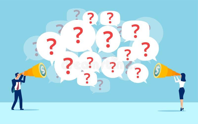 Το διάνυσμα του επιχειρησιακού ατόμου και η επιχειρηματίας που ψάχνει για τις οικονομικές ευκαιρίες έχουν πολλές ερωτήσεις διανυσματική απεικόνιση