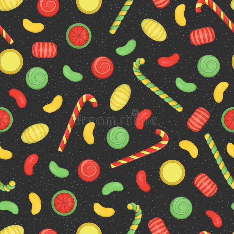 Το διάνυσμα χρωμάτισε το άνευ ραφής σχέδιο των γλυκών διανυσματική απεικόνιση