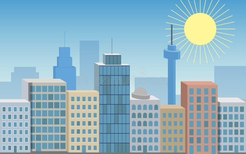 Το διάνυσμα χρωμάτισε την άνευ ραφής τρισδιάστατη απεικόνιση της μεγάλης πόλης με να λάμψει ελεύθερη απεικόνιση δικαιώματος