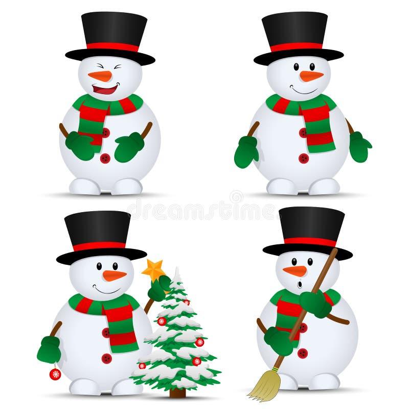 Το διάνυσμα snowmans έθεσε διανυσματική απεικόνιση
