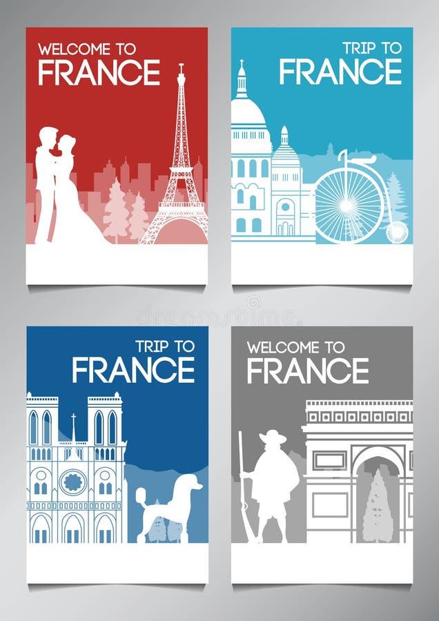 Το διάσημα ορόσημο και το σύμβολο της Γαλλίας στο ύφος σκιαγραφιών με τη εθνική σημαία χρωματίζουν το σύνολο φυλλάδιων θέματος απεικόνιση αποθεμάτων
