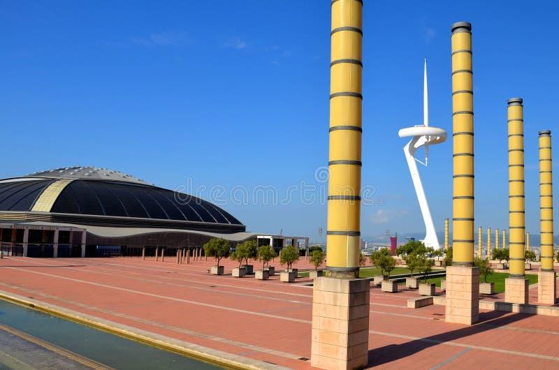 Το διάσημο ολυμπιακό πάρκο Montjuic Ολυμπιακός πύργος πάρκων στοκ φωτογραφίες με δικαίωμα ελεύθερης χρήσης