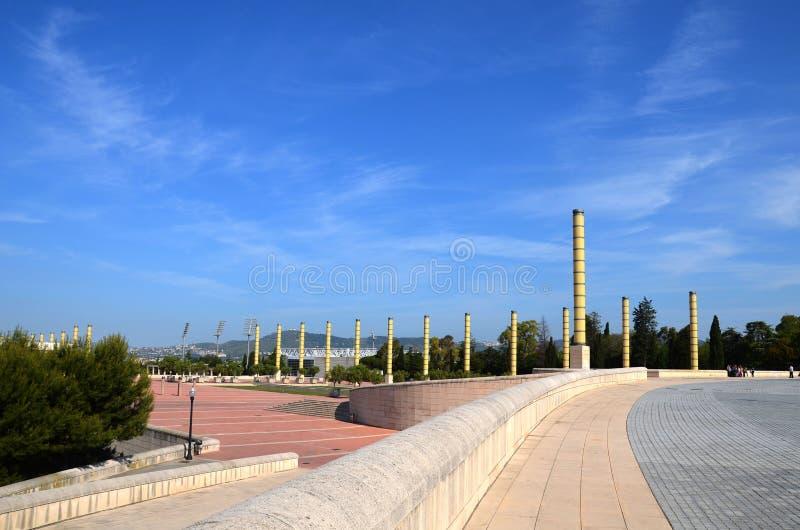 Το διάσημο ολυμπιακό πάρκο Montjuic Ολυμπιακός πύργος πάρκων στοκ εικόνα