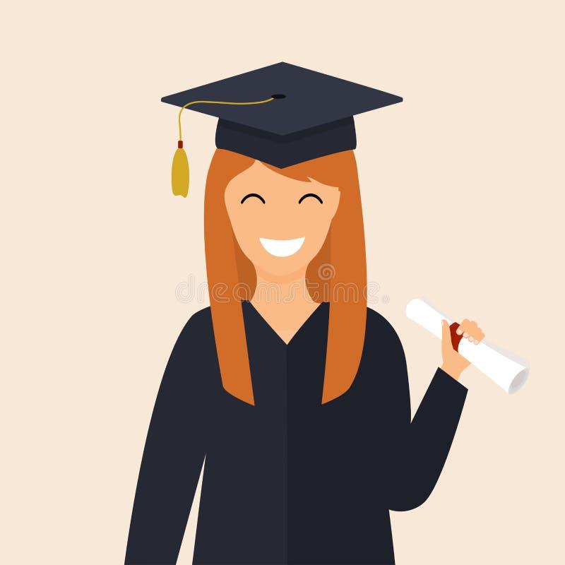 Το διαβαθμισμένο κορίτσι στο μανδύα κρατά στο δίπλωμα χεριών πανεπιστήμιο ελεύθερη απεικόνιση δικαιώματος