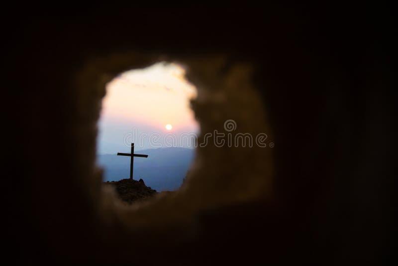 Το διαγώνιο σύμβολο για το Ιησούς Χριστό αυξάνεται στοκ φωτογραφίες