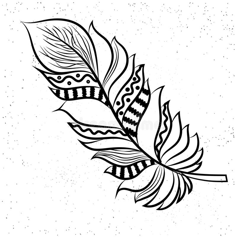 Το διακοσμητικό σχέδιο φτερών ύφους Boho, δημιουργικό χέρι που σύρεται διανυσματική απεικόνιση