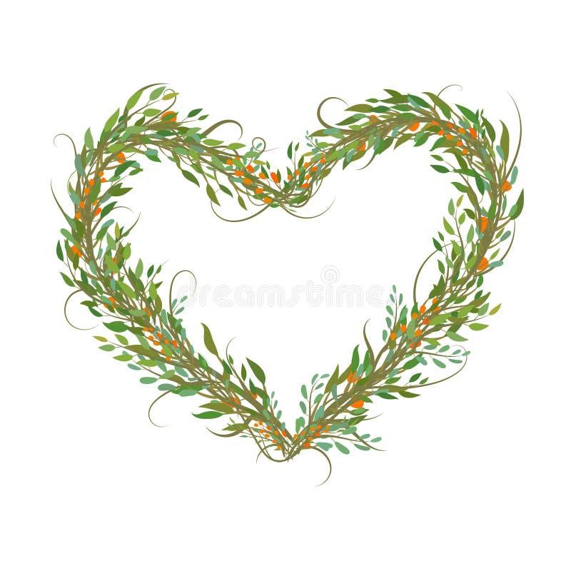 Το διακοσμητικό σύμβολο καρδιών από τους κλάδους και βγάζει φύλλα ελεύθερη απεικόνιση δικαιώματος
