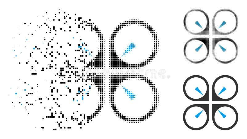 Το διαλυμένο σημείο ημίτονο αιωρείται το εικονίδιο κηφήνων διανυσματική απεικόνιση