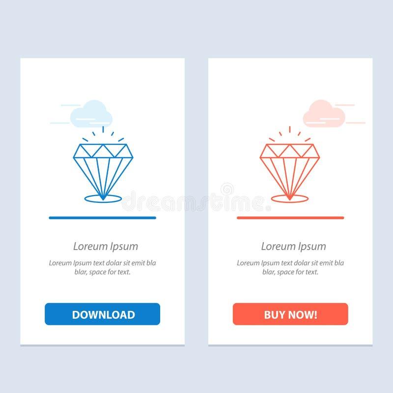 Το διαμάντι, λάμπει, ακριβός, πέτρινος μπλε και το κόκκινο μεταφορτώνει και αγοράζει τώρα το πρότυπο καρτών Widget Ιστού ελεύθερη απεικόνιση δικαιώματος
