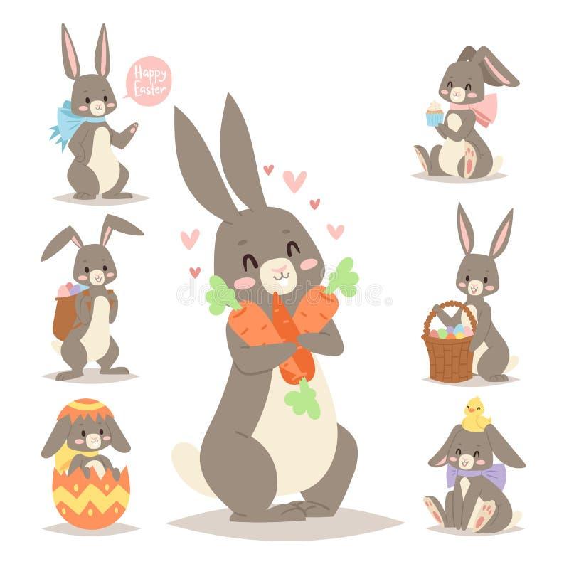 Το διανυσματικά κουνέλι λαγουδάκι διακοπών κουνελιών Πάσχας και τα αυγά Πάσχας θέτουν τη χαριτωμένη ευτυχή ζωική απεικόνιση κουνε απεικόνιση αποθεμάτων
