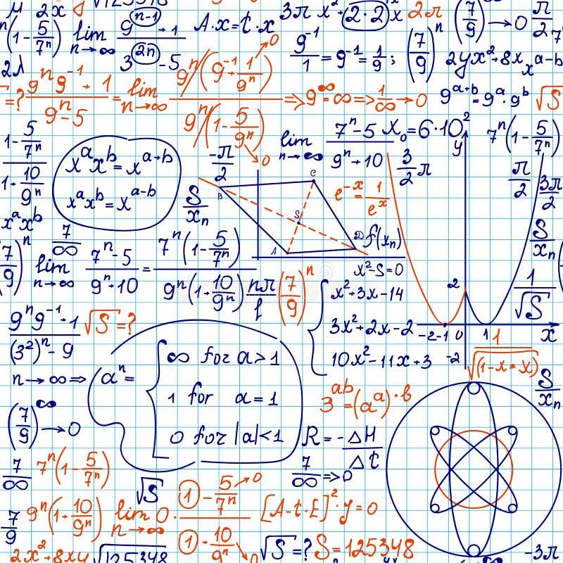 Το διανυσματικό άνευ ραφής εκπαιδευτικό σχέδιο Math με τους τύπους, εξισώσεις και υπολογισμοί, χειρόγραφοι στο πλέγμα copybook απεικόνιση αποθεμάτων