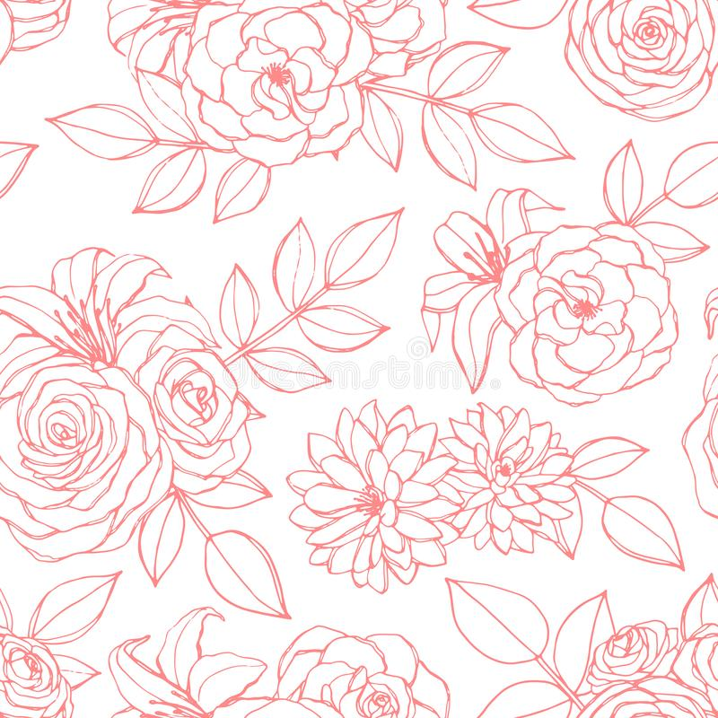 Το διανυσματικό άνευ ραφής σχέδιο με ροδαλό, ο κρίνος, τα peony και λουλούδια χρυσάνθεμων οδοντώνουν την τέχνη γραμμών στο άσπρο  διανυσματική απεικόνιση