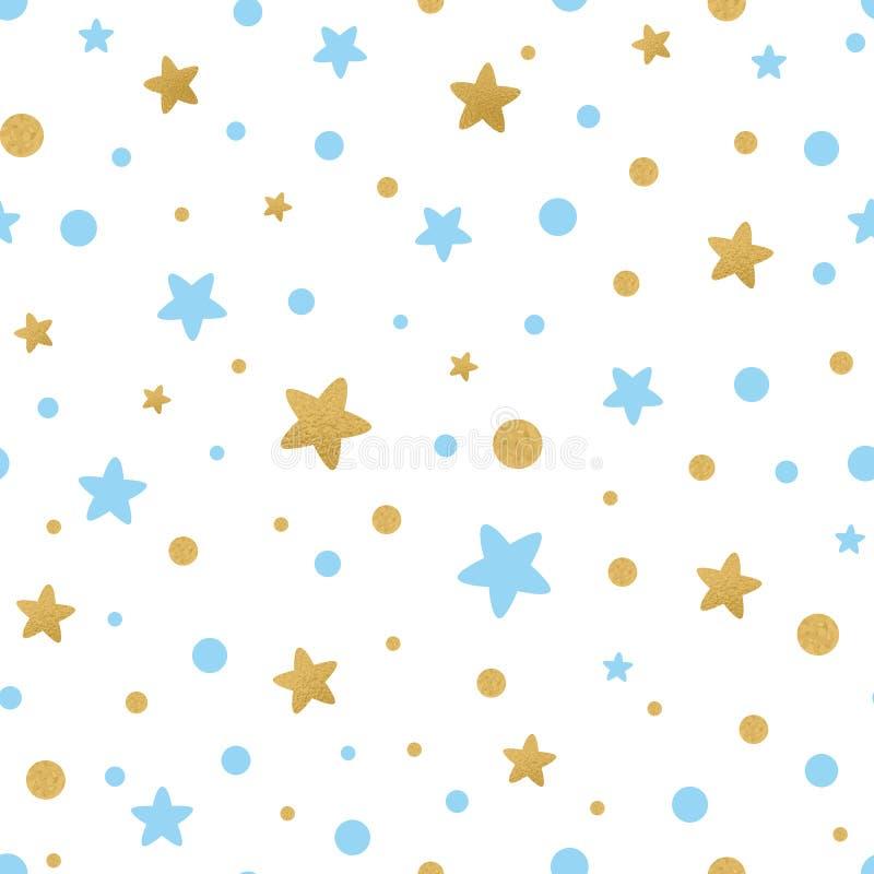 Το διανυσματικό άνευ ραφής σχέδιο τα χρυσά μπλε αστέρια για τα Χριστούγεννα backgound, κλωστοϋφαντουργικό προϊόν ντους μωρών γενε ελεύθερη απεικόνιση δικαιώματος