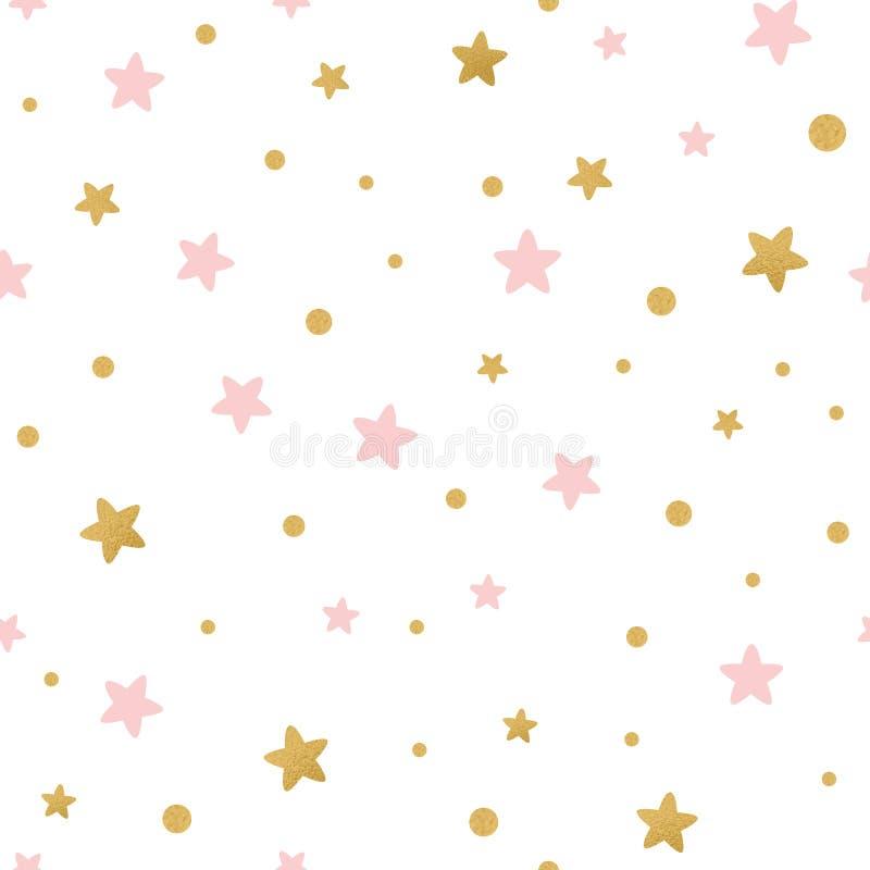 Το διανυσματικό άνευ ραφής σχέδιο τα χρυσά ρόδινα αστέρια για τα Χριστούγεννα backgound ή το κλωστοϋφαντουργικό προϊόν ντους μωρώ διανυσματική απεικόνιση