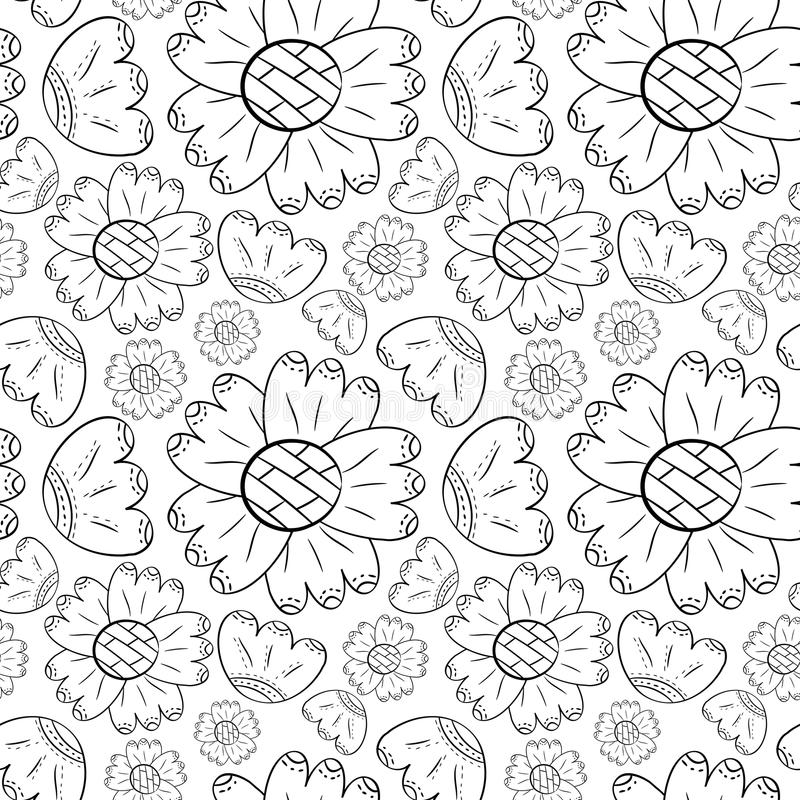 Το διανυσματικό άνευ ραφής σχέδιο των μονοχρωματικών λουλουδιών μπορεί κρίνος και ηλίανθοι στο Σκανδιναβικό χέρι ύφους που επισύρ διανυσματική απεικόνιση
