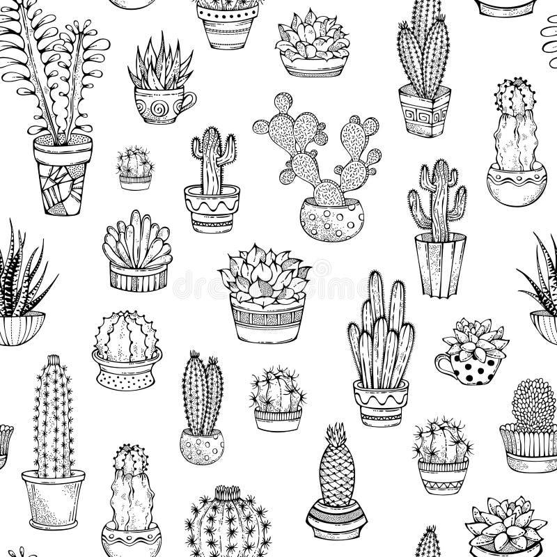Το διανυσματικό άνευ ραφής σχέδιο των hand-drawn κάκτων doodles και ελεύθερη απεικόνιση δικαιώματος
