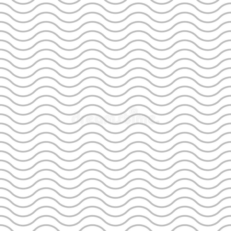 Το διανυσματικό άνευ ραφής σχέδιο υποβάθρου κυμάτων, γκρίζες γραμμές κυμάτων στο άσπρο υπόβαθρο, αφαιρεί το κυματισμένο γεωμετρικ ελεύθερη απεικόνιση δικαιώματος