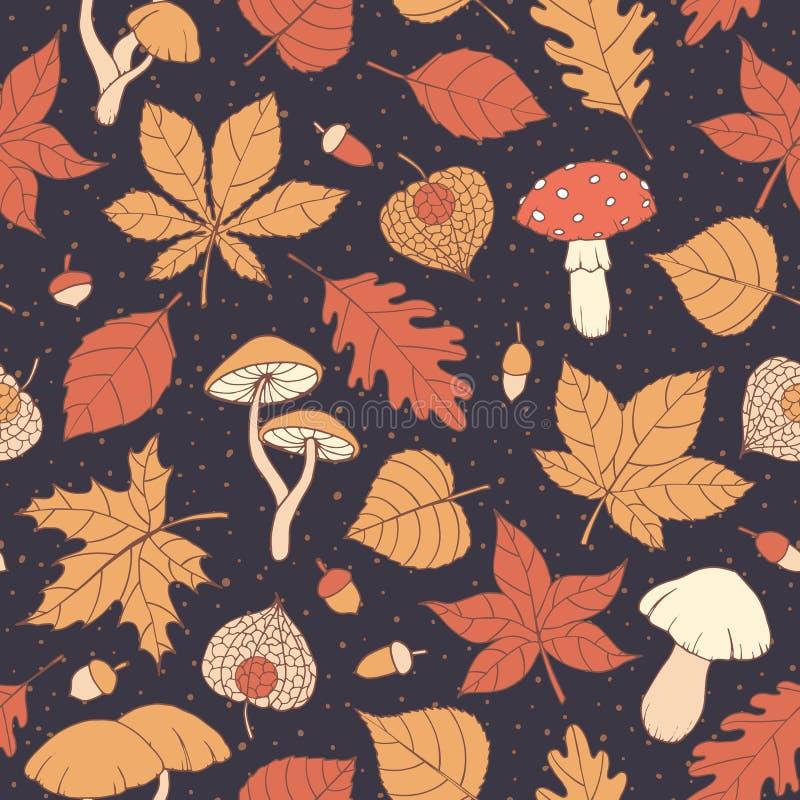 Το διανυσματικό άνευ ραφής σχέδιο φθινοπώρου με τη βαλανιδιά, λεύκα, οξιά, σφένδαμνος και τα φύλλα, τα μανιτάρια, τα βελανίδια κα διανυσματική απεικόνιση
