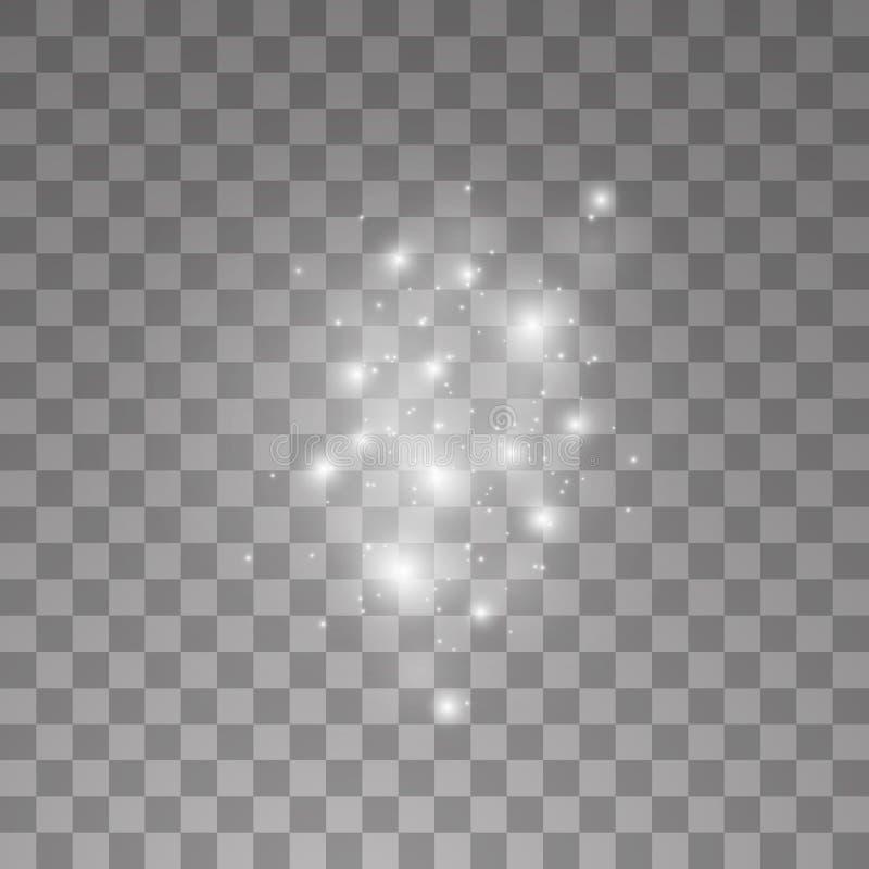 Το διανυσματικό άσπρο σύννεφο ακτινοβολεί αφηρημένη απεικόνιση κυμάτων Άσπρα λαμπιρίζοντας μόρια ιχνών σκόνης αστεριών που απομον ελεύθερη απεικόνιση δικαιώματος