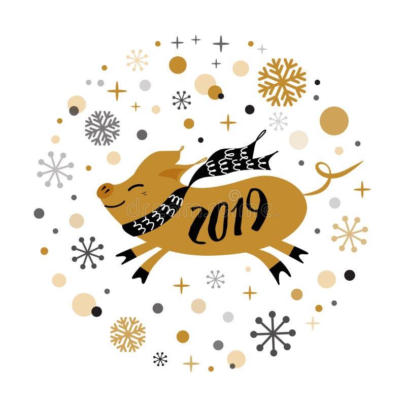 Το διανυσματικό έμβλημα 2019 Χαρούμενα Χριστούγεννας χρυσά snowflakes μορφής χοίρων καλής χρονιάς χρυσά ονομάζει την κάρτα αφισών απεικόνιση αποθεμάτων