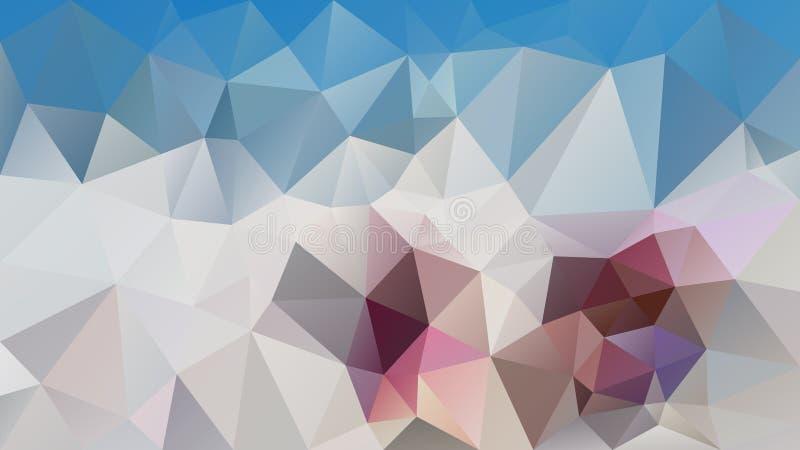 Το διανυσματικό ανώμαλο polygonal υπόβαθρο - χαμηλό πολυ σχέδιο τριγώνων - μπλε ουρανού, ελεφαντόδοντο άσπρο, γκρίζο, μωβ και tau απεικόνιση αποθεμάτων