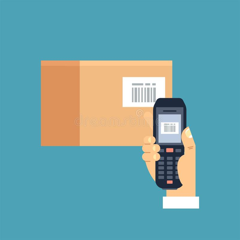Το διανυσματικό αρσενικό χέρι απεικόνισης που κρατά τον κινητό ανιχνευτή κώδικα φραγμών ή ο αναγνώστης ανιχνεύει έναν κώδικα φραγ ελεύθερη απεικόνιση δικαιώματος