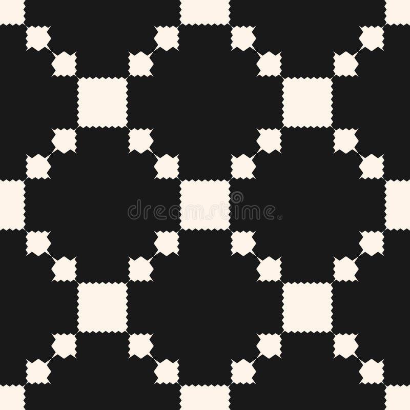 Το διανυσματικό γεωμετρικό άνευ ραφής σχέδιο με τα τετράγωνα, οδοντωτές μορφές, πλέγμα, επαναλαμβάνει τα κεραμίδια Διακοσμητικό ε διανυσματική απεικόνιση