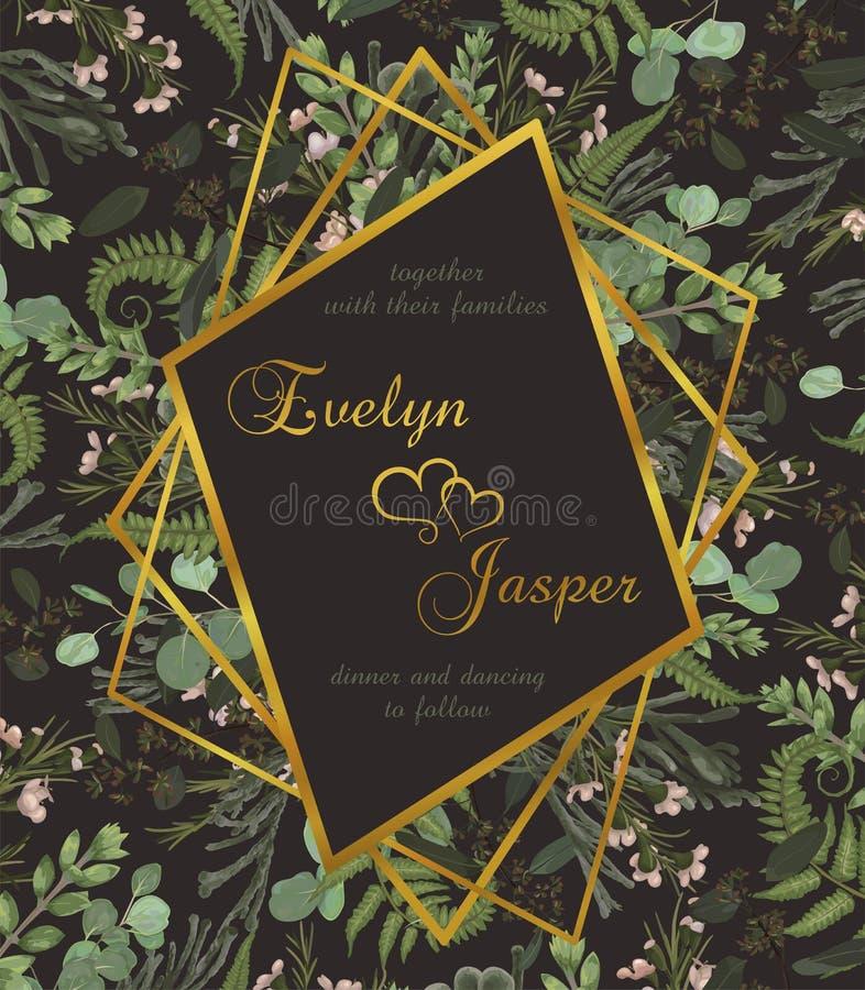 Το διανυσματικό γεωμετρικό χρυσό πλαίσιο watercolor σχεδίου σε ένα καφετί υπόβαθρο με τα φύλλα της δασικών φτέρης, του πυξαριού κ απεικόνιση αποθεμάτων
