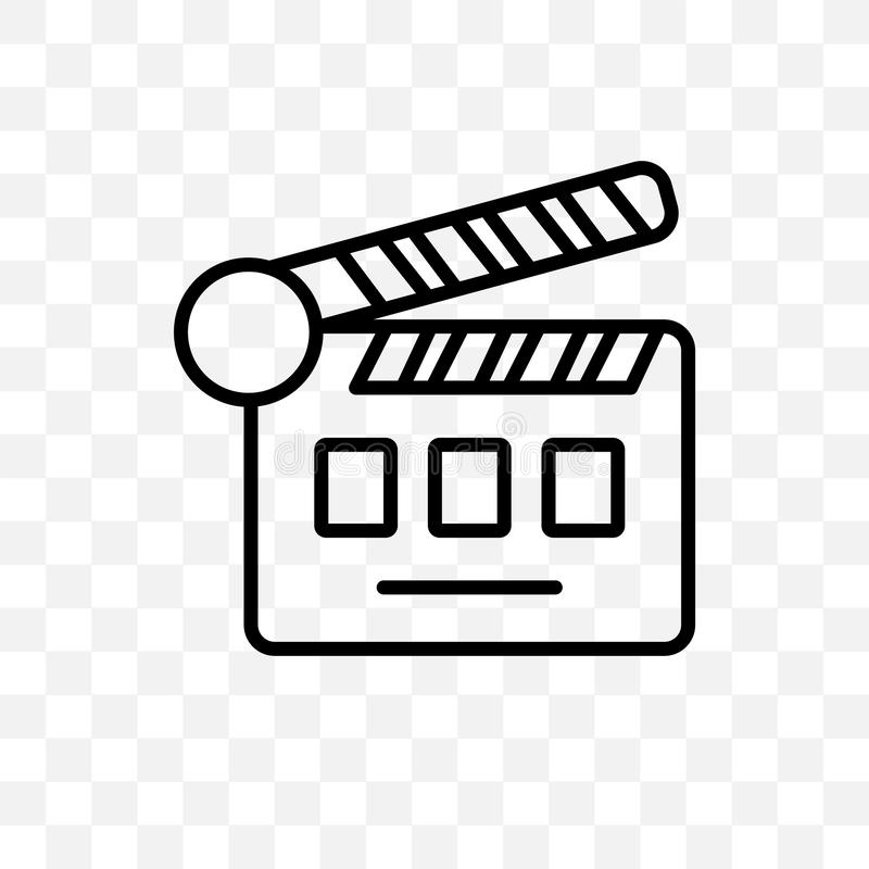 το διανυσματικό γραμμικό εικονίδιο πτερυγίων κινηματογράφων που απομονώνεται στο διαφανές υπόβαθρο, έννοια διαφάνειας πτερυγίων κ ελεύθερη απεικόνιση δικαιώματος