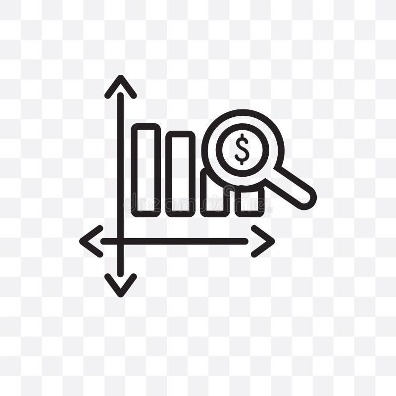 Το διανυσματικό γραμμικό εικονίδιο φραγμών ανάλυσης δολαρίων που απομονώνεται στο διαφανές υπόβαθρο, έννοια διαφάνειας φραγμών αν ελεύθερη απεικόνιση δικαιώματος