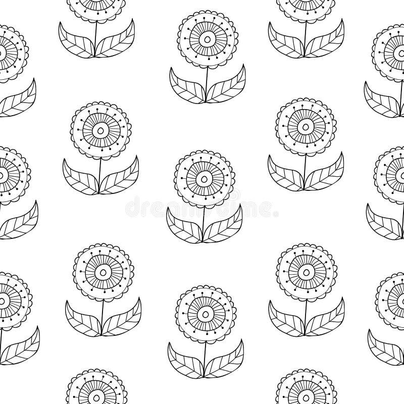 Το διανυσματικό γραπτό doodle ανθίζει το σχέδιο με τα αφηρημένα floral λουλούδια Γραπτό hand-drawn λουλούδι άνευ ραφής ελεύθερη απεικόνιση δικαιώματος