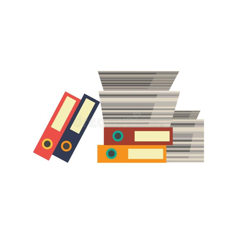Το διανυσματικό γραφείο τεκμηριώνει το συσσωρευμένο φάκελλοι σωρό εγγράφου ελεύθερη απεικόνιση δικαιώματος