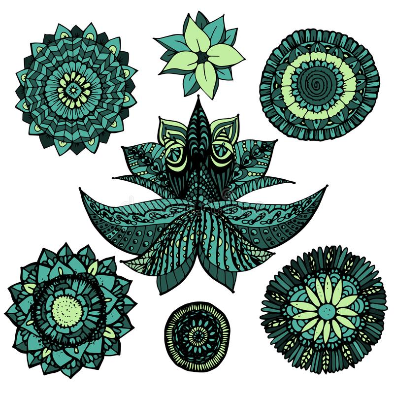 Το διανυσματικό δικτυωτό mandala απεικόνισης zentangle doodles έθεσε στα μπλε και πράσινα χρώματα με τα λουλούδια που απομονώθηκα διανυσματική απεικόνιση