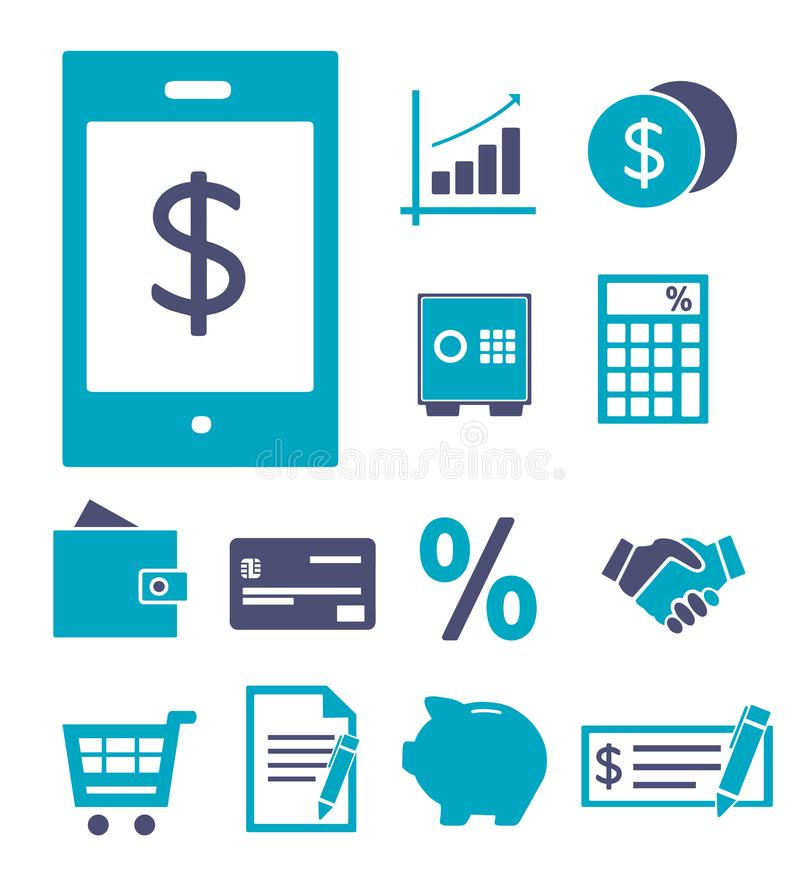 Το διανυσματικό εικονίδιο έθεσε για τη δημιουργία του infographics για τους πόρους χρηματοδότησης, τραπεζικές εργασίες, ψωνίζοντα διανυσματική απεικόνιση