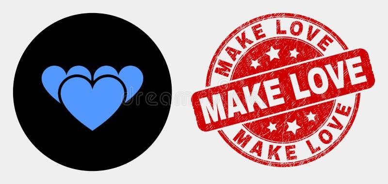 Το διανυσματικό εικονίδιο και Grunge καρδιών αγάπης κάνουν το γραμματόσημο αγάπης διανυσματική απεικόνιση