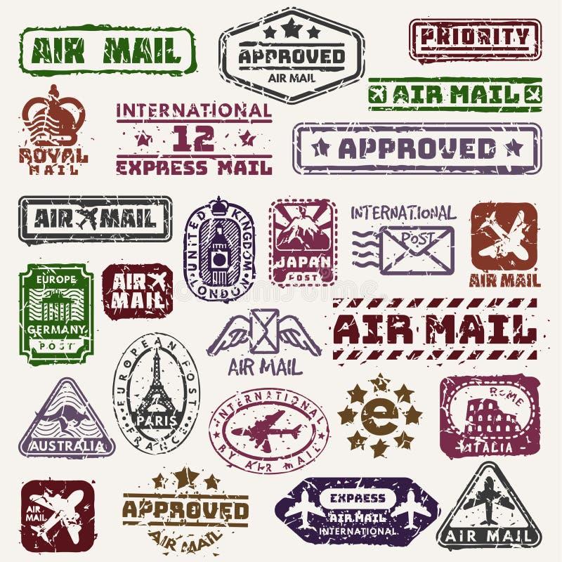 Το διανυσματικό εκλεκτής ποιότητας ταχυδρομείο ταχυδρομικών τελών σφραγίζει το αναδρομικό αεροπλάνο διακριτικών παράδοσης, τυπωμέ διανυσματική απεικόνιση