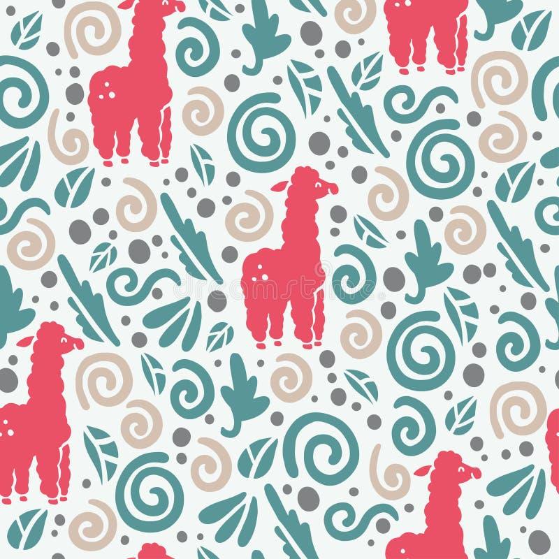 Το διανυσματικό επίπεδο άνευ ραφής σχέδιο με τα χαριτωμένα αστεία συρμένα χέρι ζώα λάμα σκιαγραφεί και floral διακόσμηση που απομ απεικόνιση αποθεμάτων
