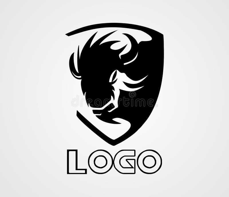 Το διανυσματικό, ζωικό λογότυπο λογότυπων βισώνων απεικόνιση αποθεμάτων