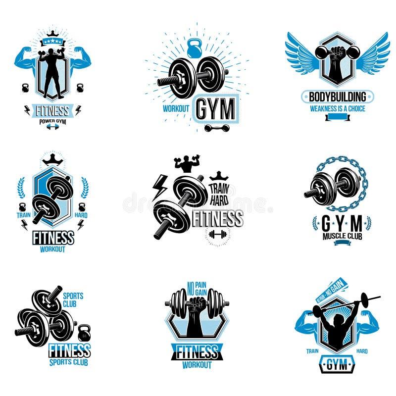 Το διανυσματικό θέμα ικανότητας workout logotypes και η ενθαρρυντική συλλογή αφισών δημιούργησαν με τους αλτήρες, barbells, αθλητ απεικόνιση αποθεμάτων
