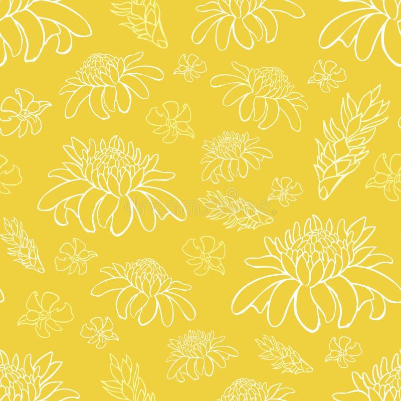 Το διανυσματικό κίτρινο τροπικό παραθαλάσσιο θέρετρο επαναλαμβάνει το σχέδιο λουλουδιών Κατάλληλος για το περικάλυμμα, το κλωστοϋ διανυσματική απεικόνιση