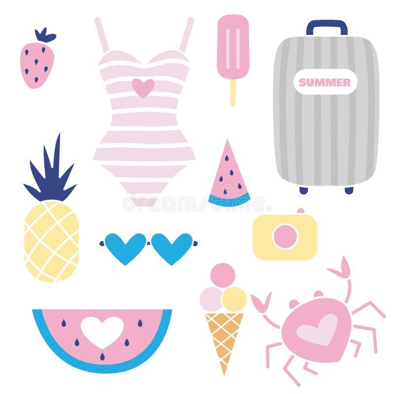 Το διανυσματικό καλοκαίρι έθεσε με το καρπούζι, μαγιό, κάμερα, τσάντα παραλιών, παγωτό ελεύθερη απεικόνιση δικαιώματος