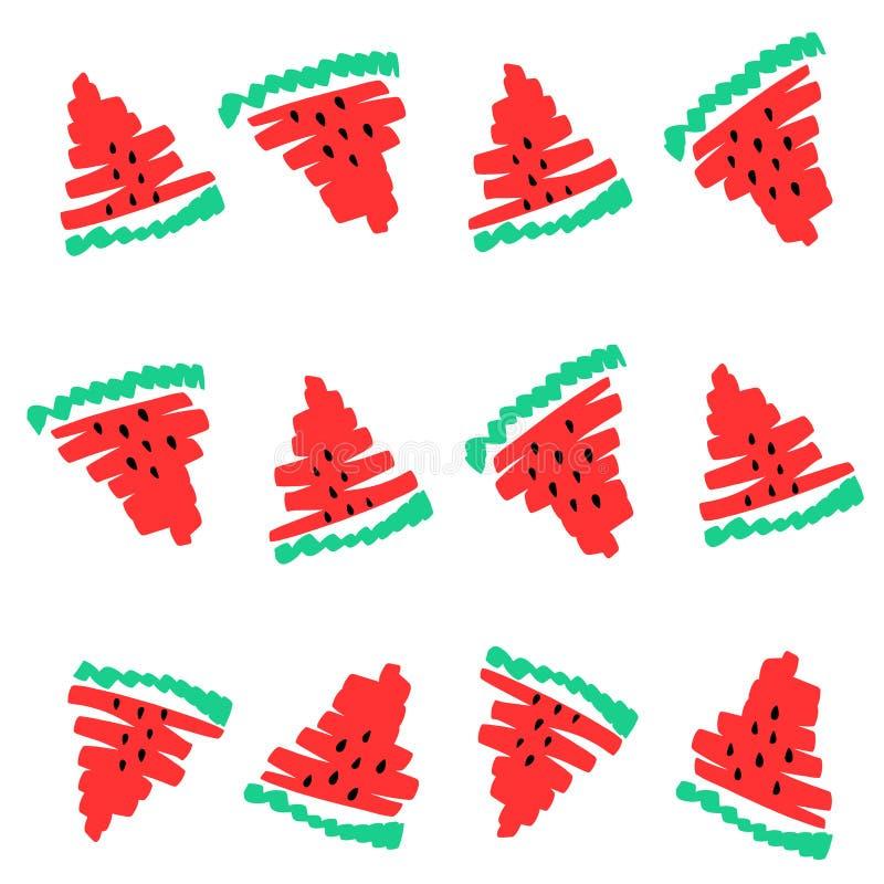 Το διανυσματικό καρπούζι τεμαχίζει τους μαύρους σπόρους υποβάθρου Συρμένη χέρι απεικόνιση καρπουζιών watercolor φρούτων θερινών τ διανυσματική απεικόνιση