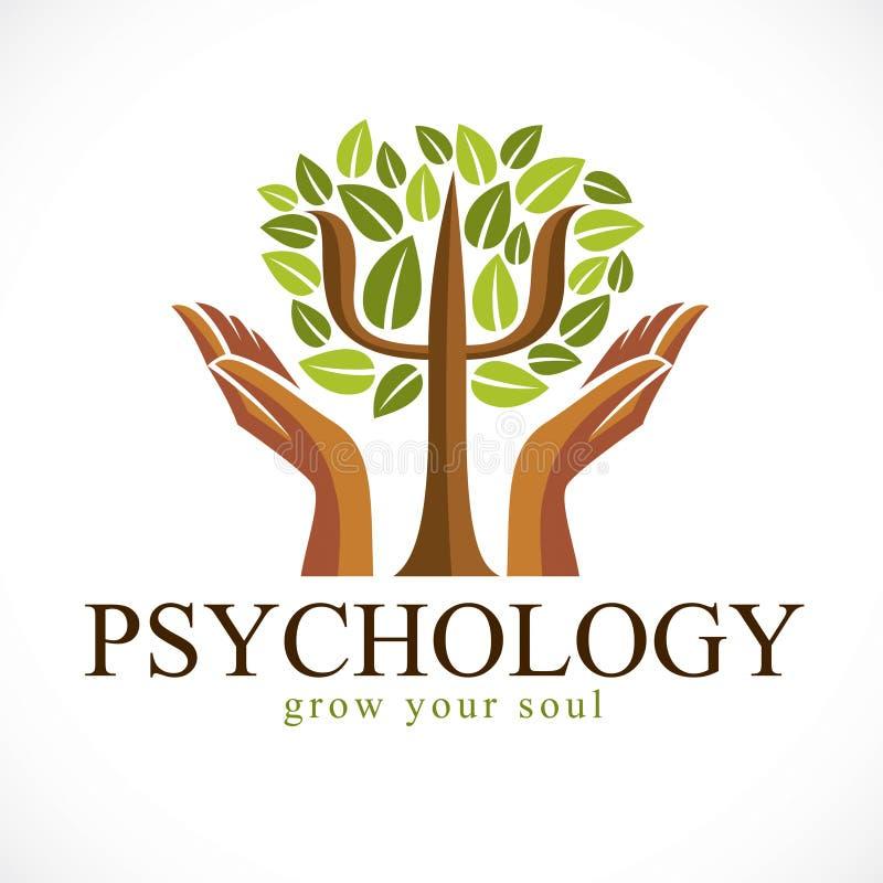 Το διανυσματικό λογότυπο ή το εικονίδιο έννοιας ψυχολογίας δημιούργησε με το ελληνικό σύμβολο PSI ως πράσινο δέντρο με τα φύλλα κ διανυσματική απεικόνιση