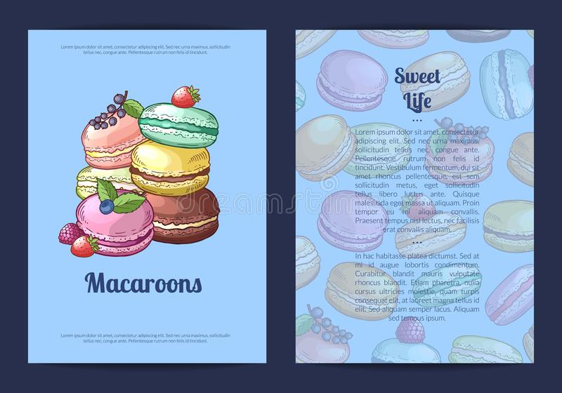 Το διανυσματικό πρότυπο καρτών ή φυλλάδιων για το γλυκό ή τη ζύμη ψωνίζει με χρωματισμένα συρμένα χέρι macaroons απεικόνιση αποθεμάτων