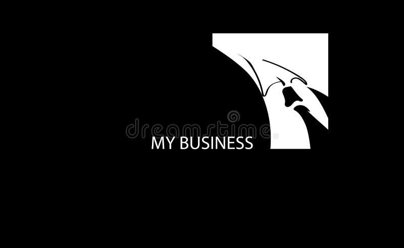 Το διανυσματικό σκίτσο υποβάθρου βλέπει την επιχείρησή ΜΟΥ Απεικόνιση του σκοτεινού σμόκιν με τη μαύρη έννοια γραβατών Πρόσκληση  ελεύθερη απεικόνιση δικαιώματος