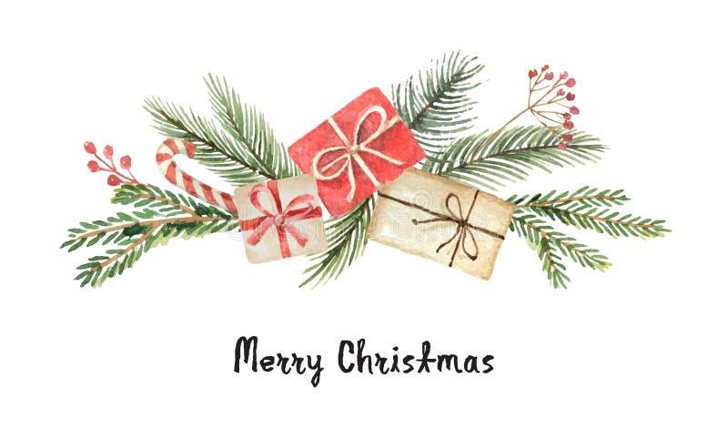 Το διανυσματικό στεφάνι Χριστουγέννων Watercolor με το έλατο διακλαδίζεται, δώρα και θέση για το κείμενο απεικόνιση αποθεμάτων