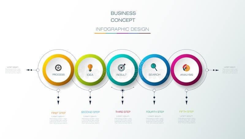 Το διανυσματικό σχέδιο ετικετών κύκλων Infographic τρισδιάστατο με τα βέλη υπογράφει και 5 επιλογές ή βήματα απεικόνιση αποθεμάτων