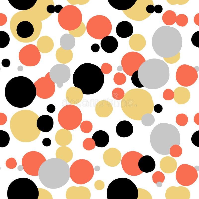 Το διανυσματικό σχέδιο σημείων Πόλκα Ditsy με το τυχαίο χέρι χρωμάτισε τους κύκλους στο λευκό, ο Μαύρος, κόκκινα, ασημένια, χρυσά διανυσματική απεικόνιση