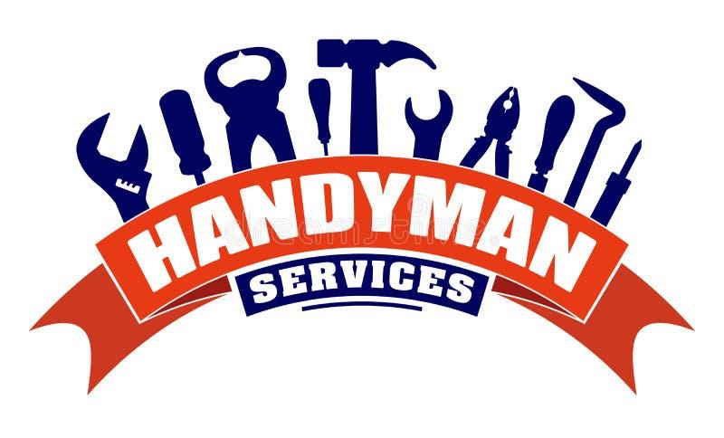 Το διανυσματικό σχέδιο υπηρεσιών Handyman για το λογότυπο ή το έμβλημά σας με είναι διανυσματική απεικόνιση