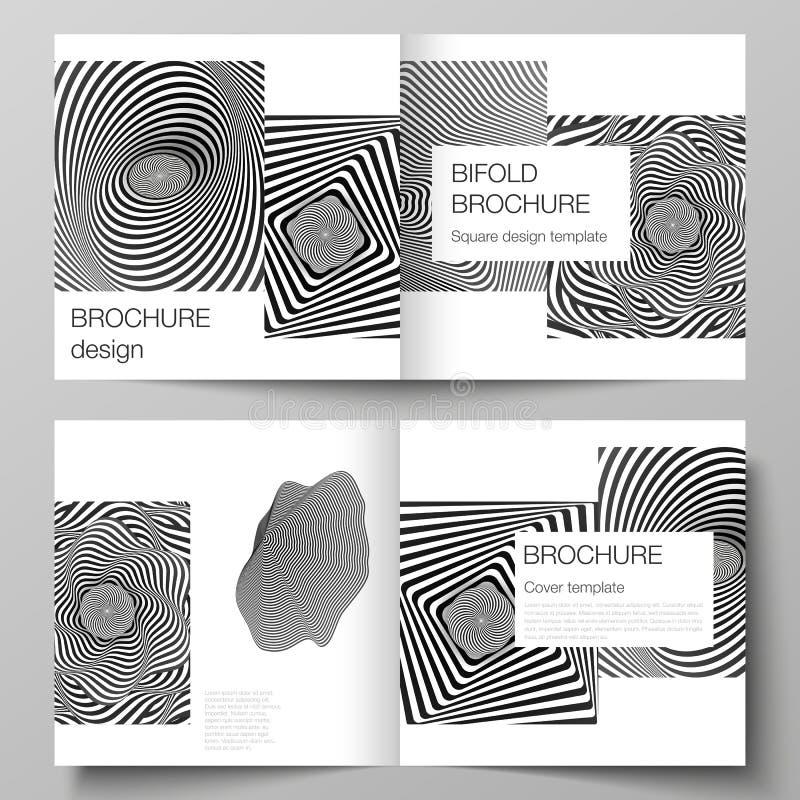 Το διανυσματικό σχεδιάγραμμα δύο προτύπων καλύψεων για το τετραγωνικό φυλλάδιο σχεδίου bifold, περιοδικό, ιπτάμενο, βιβλιάριο Αφη ελεύθερη απεικόνιση δικαιώματος